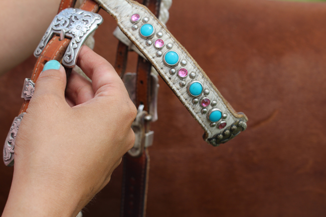 turquoise and pink headstall