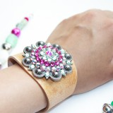 Pink and Green Concho Cuff by Rodeo Envy