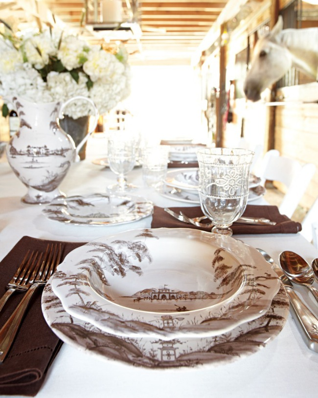Beautiful dinner party set up in the stables, dine with the horses