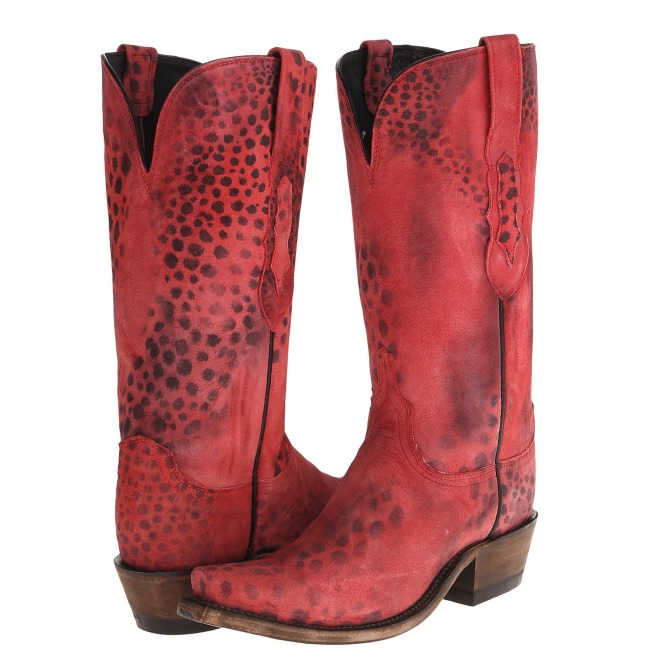 Lucchese Red Cheetah Cowgirl Boots