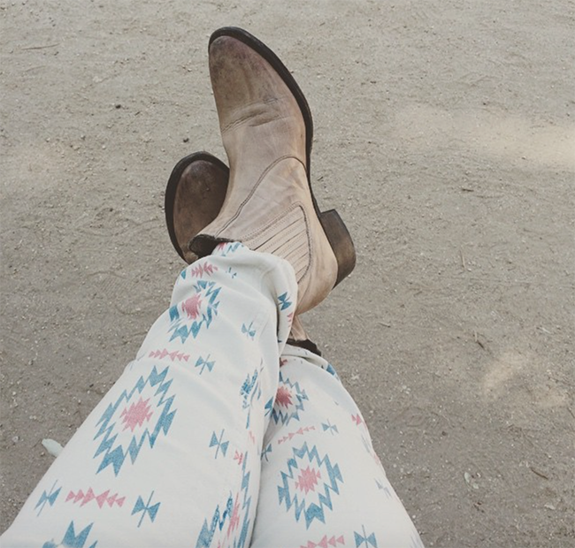 Shorty boots and tribal print jeans