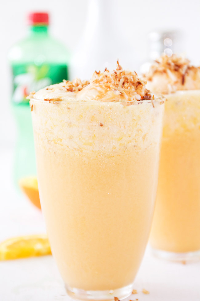 Refreshing Malibu Sherbert Floats with Toasted Coconut and Orange Juice