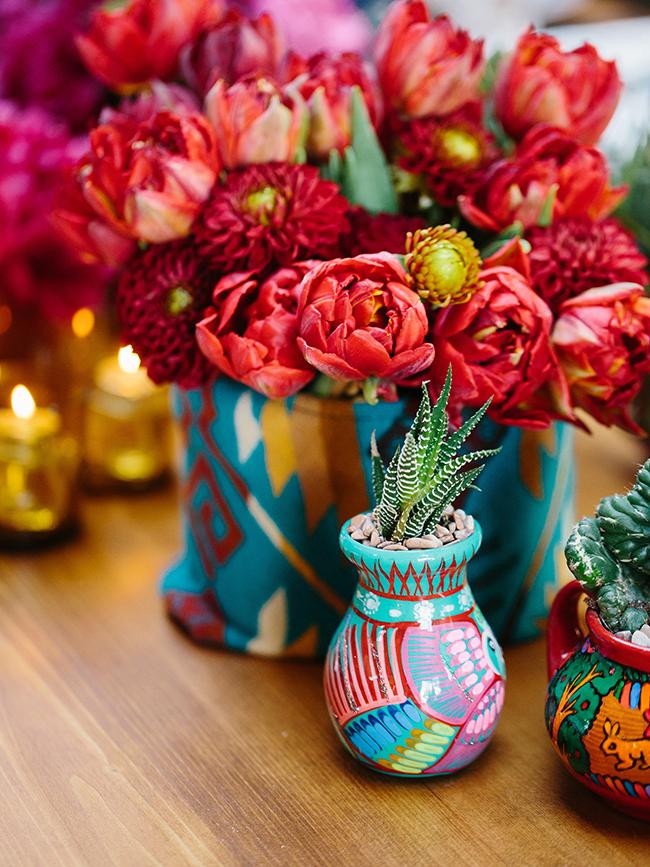 Colorful flower, succulent and cacti arrangements