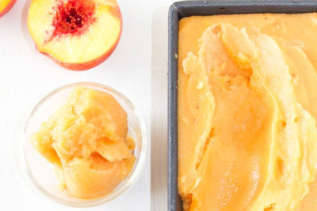 Sparkling Peach Sorbet Floats