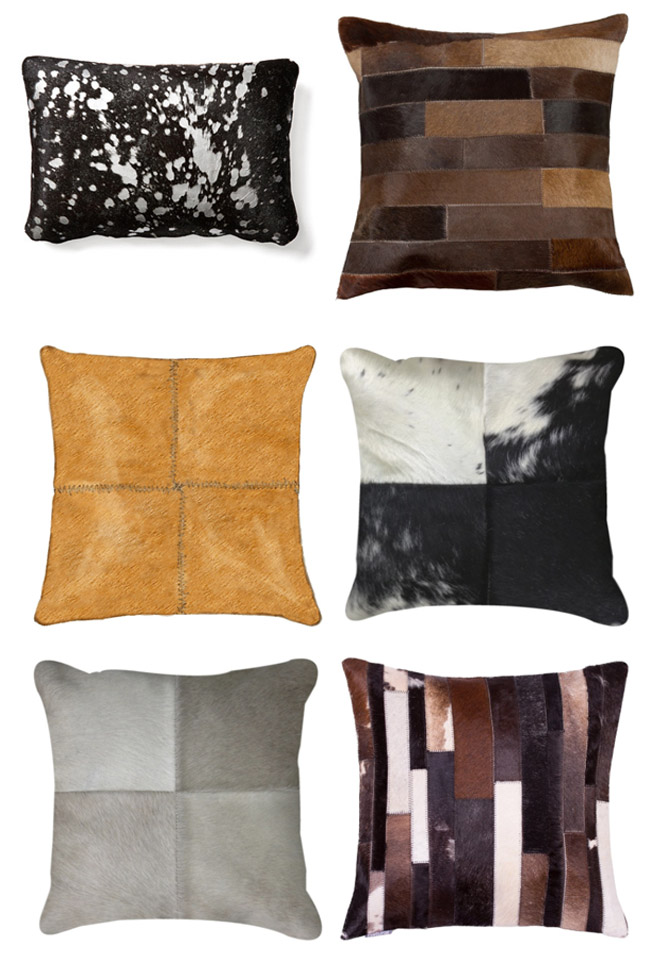 Beautiful non traditional cowhide pillows for the home