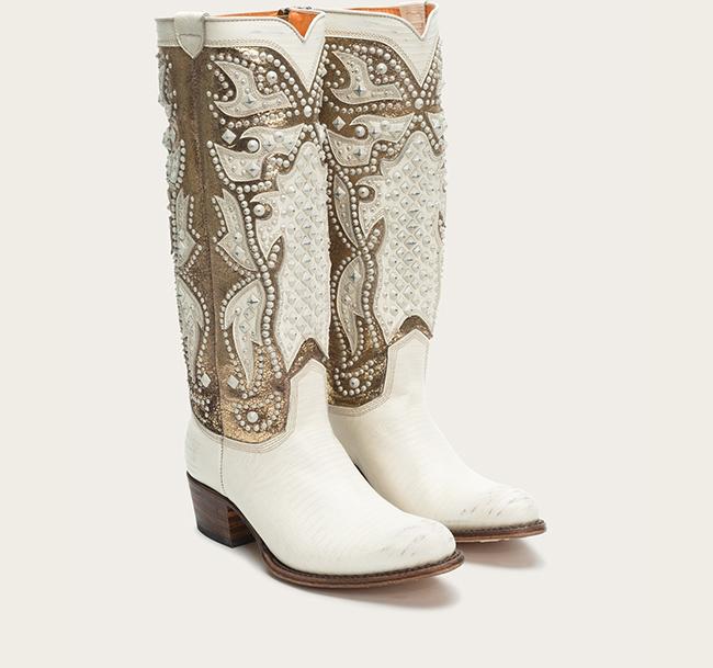 Off White Metallic Cowboy Boots by Frye