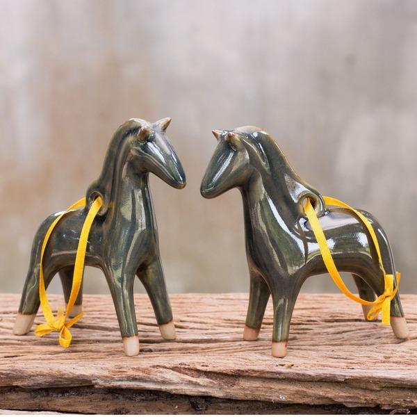 Set of 2 Blue Winter Horses Celadon Ceramic Ornaments