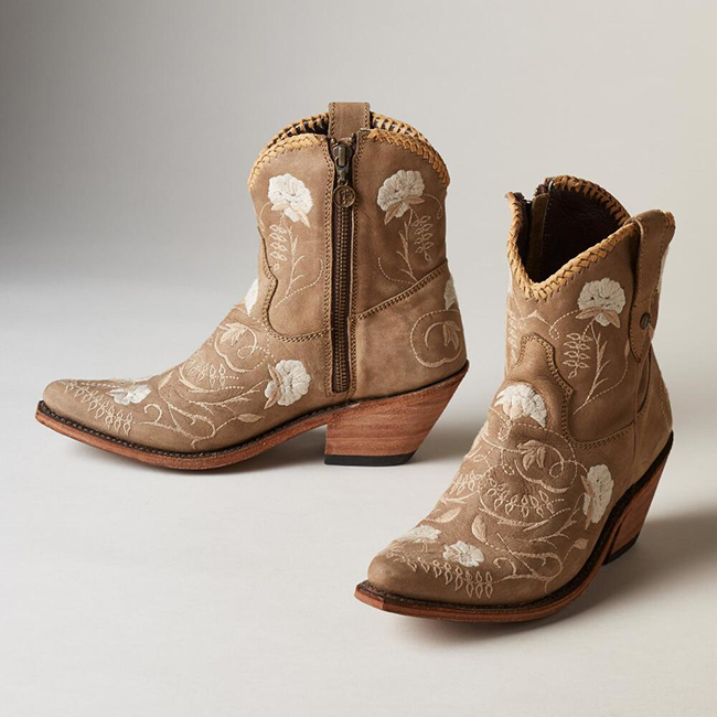 Liberty Black Cotton Flower taupe cowboy boots