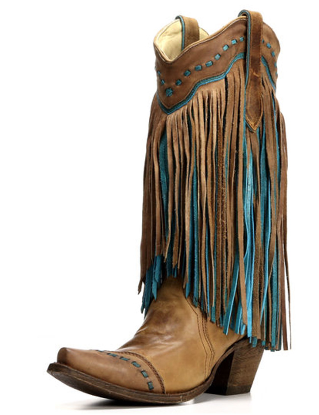 Corral brown and turquoise fringe boots