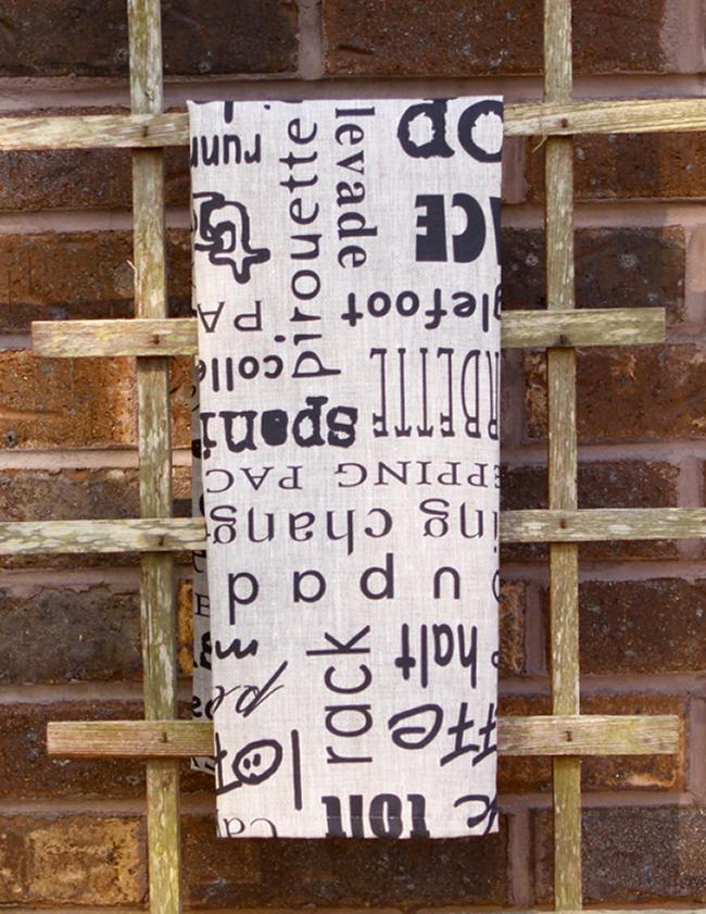 Typography gaits tea towel