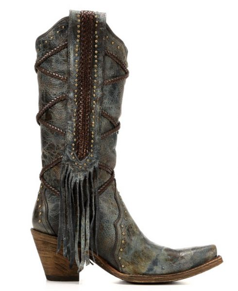 Corral fringe and leather snip toe boots
