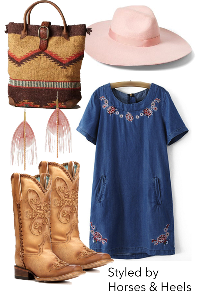 Pretty in pink summer style with brown cowboy boots