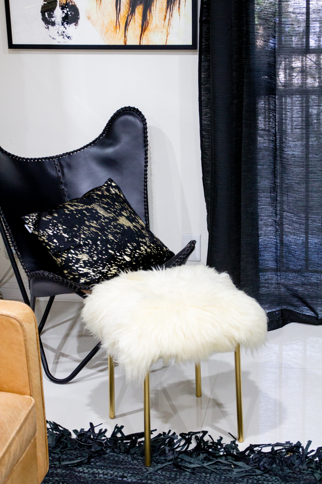 DIY sheepskin stools with gold legs at home