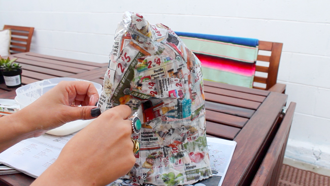 covering the horse head in paper mâché