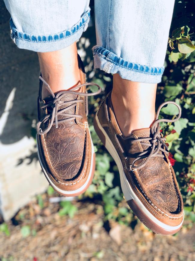 Durango Music City tooled leather boat shoes